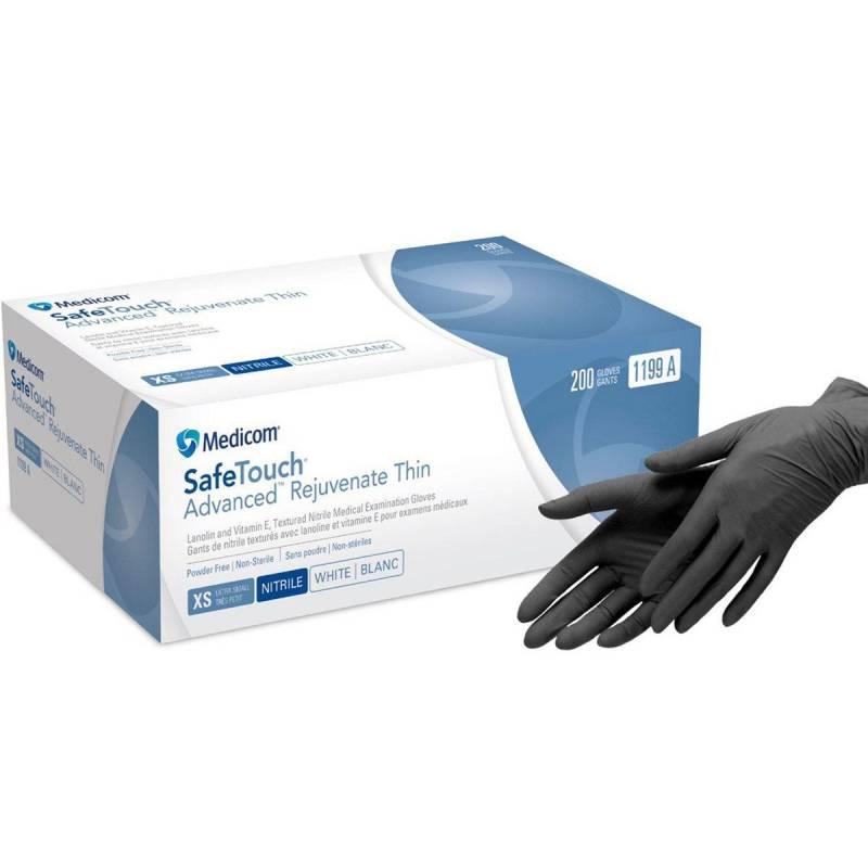 Купить Перчатки нитриловые Medicom Safe Touch Advanced Black 3,6 гр (без пудры, нестерильные M, L) 100 шт