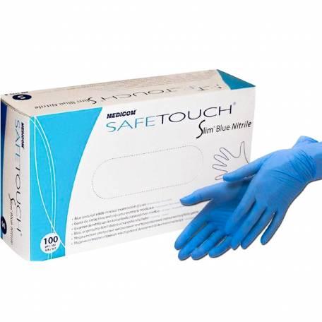Купити Рукавички нітрилові Medicom Safe Touch Advanced Slim Blue 3,6 гр (без пудри, нестерильні текстуровані XS, S, M, L) 100 шт