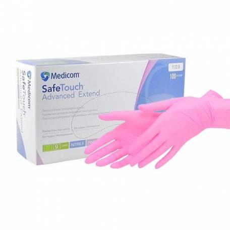 Купити Рукавички нітрилові Medicom Safe Touch Advanced Pink 3,6 гр (без пудри, нестерильні M) 100 шт
