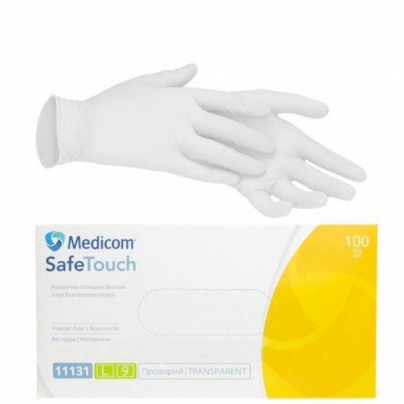 Купить Перчатки виниловые Medicom прозрачные (Без пудры, нестерильные, нетекстурированные, многоцелевые M) 5 пар (10 шт)