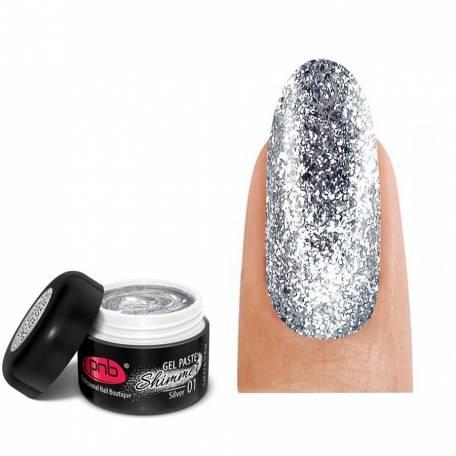 Купить Гель-паста c шиммером PNB Shimmer Gel Paste 01 Silver 5 мл