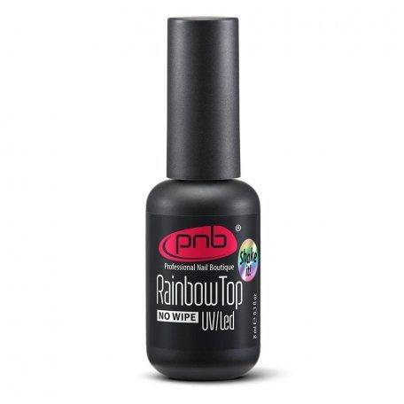 Купити Топ для гель-лаку без липкого шару PNB Rainbow Top No wipe, з райдужним шиммером, 8 мл