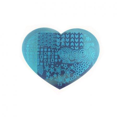 Пластина-трафарет для стемпинга YRE №13 металл, сердце