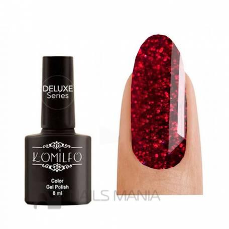 Купити Гель-лак Komilfo DeLuxe Series №G014 (темно-червоний з насиченими дрібними блискітками), 8 мл