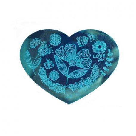 Пластина-трафарет для стемпинга YRE №24 металл, сердце