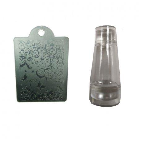 Наборы для стемпинга - Печать силиконовая с трафаретом  (белая)