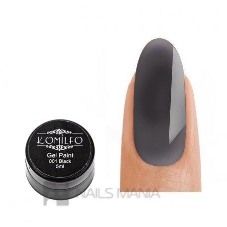 Гель-краска Komilfo №001 Black (черный) для литья, 5 мл