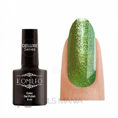 Купити Гель-лак Komilfo DeLuxe Series №G010 (зелений, насичений микроблеск з легким золотавим переливом),