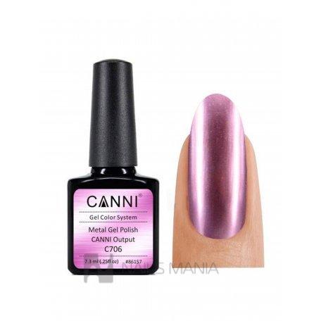 Гель-лак  зеркальный, розовый  Canni №706  7.3 мл.