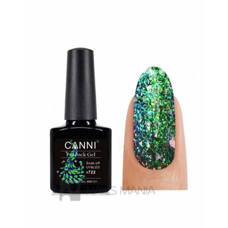 Купити Гель-лак Павиний хвіст зелений Canni №722 7.3 мл.