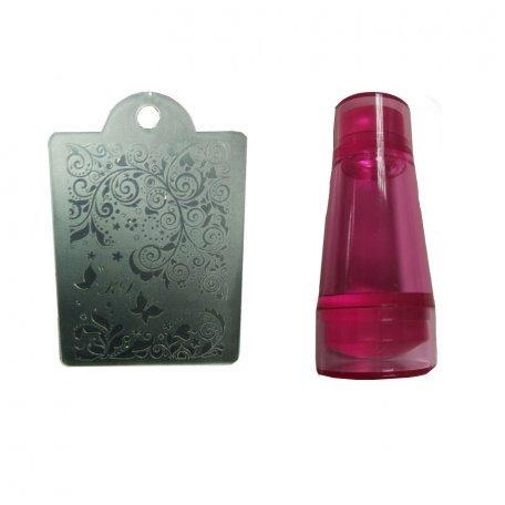 Наборы для стемпинга - Печать силиконовая с трафаретом узкая  (розовая)