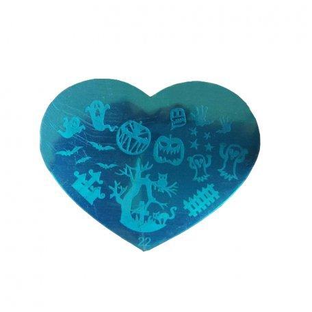 Пластина-трафарет для стемпинга YRE №22 металл, сердце