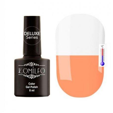 """Гель-лаки Komilfo """"Deluxe Termo"""" (Делюкс Термо) 8 мл - Гель-лак Komilfo DeLuxe Termo №C016 (персиково-оранжевый, при нагревании — белый), 8 мл"""