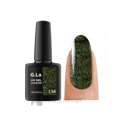 Гель-лак G.La color UV Gel Lacquer 136 (Темно-зеленый), 10 мл