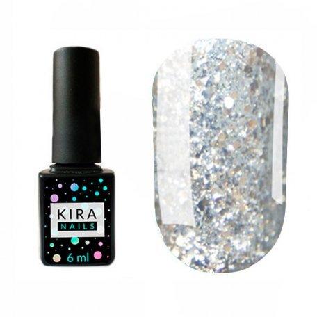 Гель-лаки Kira Nails Shine Bright 6 мл - Гель-лак Kira Nails Shine Bright №002 (серебро с золотыми блестками), 6 мл