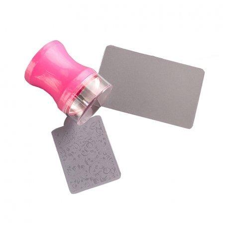Наборы для стемпинга - Печать силиконовая с трафаретом (розовая)