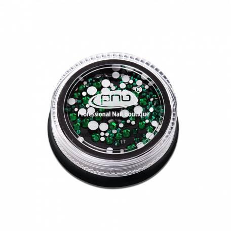 Купить Стразы для дизайна ногтей PNB, Green mix size 200 шт