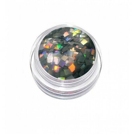 Глиттер (пайетка) ромб серебряный голографик LA100, 2*2 мм