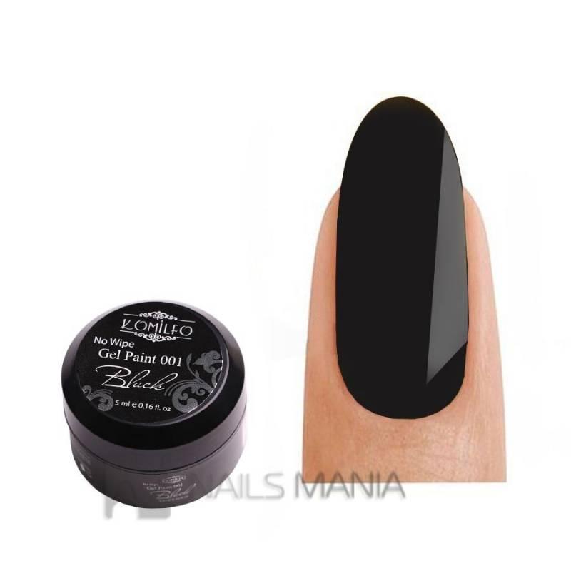 Купить Гель-краска Komilfo No Wipe Gel Paint Black 001 без липкого слоя (черная), 5 мл