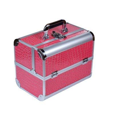Чемодан для мастера раскладной металлический YRE, розовый