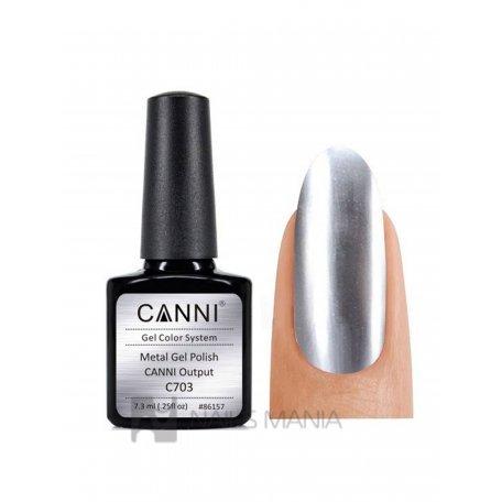 Купить Гель-лак зеркальный CANNI №703 серебро 7.3 мл.