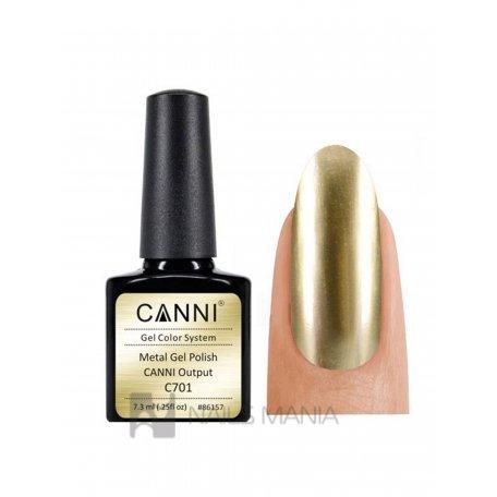 Гель-лак  зеркальный, светлое золото Canni №701  7.3 мл.
