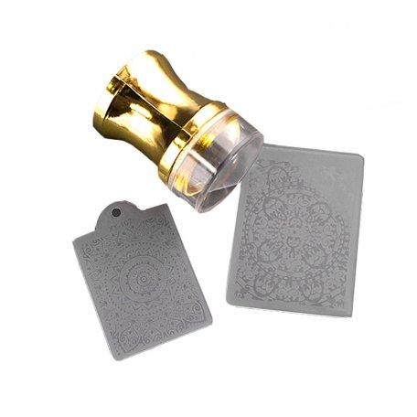 Наборы для стемпинга - Печать силиконовая с трафаретом золото