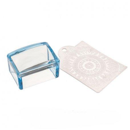 Печать силиконовая с трафаретом квадратная Y.R.E (синяя)