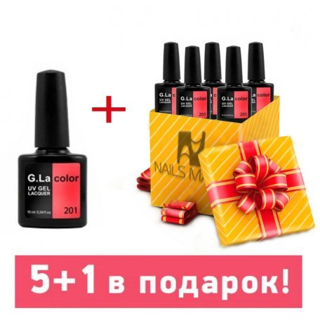 Набор гель-лаков G.La Color 5+1 в подарок