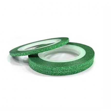 Лента для дизайна ногтей в рулоне (бархатная зеленая), 1 мм